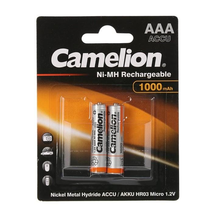 Аккумулятор Camelion, Ni-Mh, AAA, HR03-2BL (NH-AAA1000BP2), 1.2В, 1000 мАч, блистер, 2 шт.