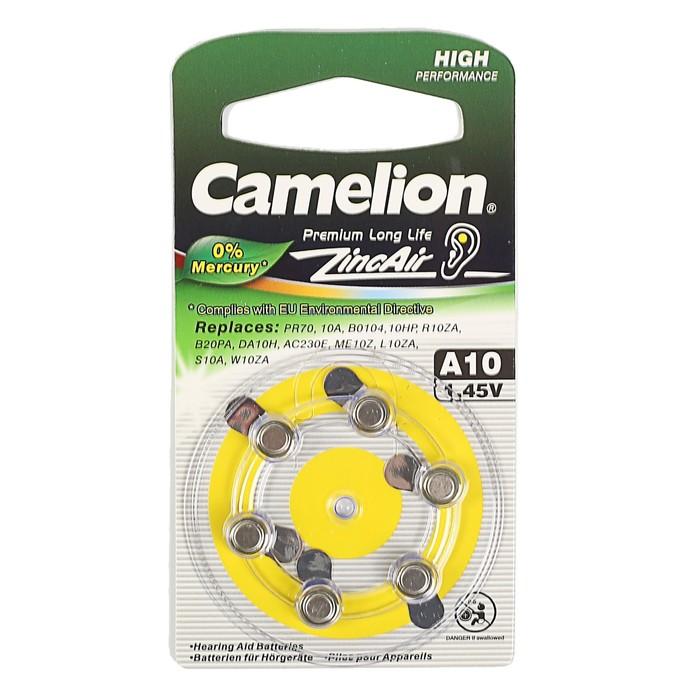 Батарейка цинковая Camelion, A10 (PR70)-6BL, для слуховых аппаратов, 1.45В, блистер, 6 шт.