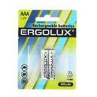Аккумулятор Ergolux, AAA, Ni-Mh, HR03-2BL (NH-AAA600BP2), 1.2В, 600mAh, блистер, 2 шт.