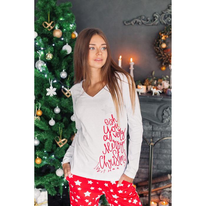 "Лонгслив женский KAFTAN ""Christmas"" бел., р-р 40-42, 100% хл"
