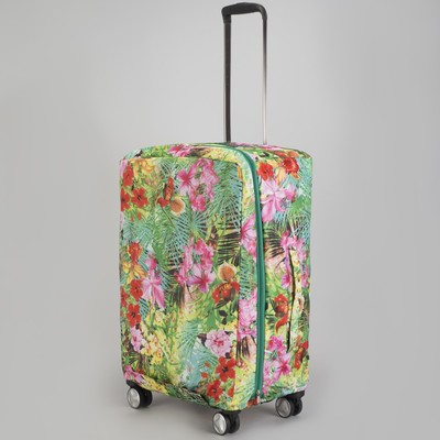 """Чехол для чемодана """"Цветы в листве"""", расширение по периметру"""