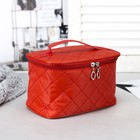 Cosmetic bag-trunk, division zipper, mirror, color red