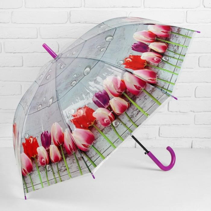 Зонт полуавтоматический «Цветы Тюльпаны», 8 спиц, R = 48 см, цвет фиолетовый