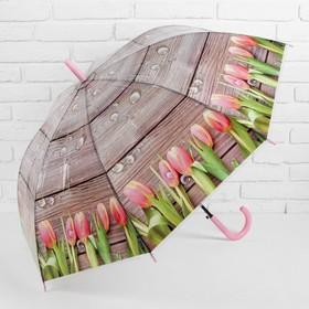Зонт - трость полуавтоматический «Тюльпаны», 8 спиц, R = 48 см, цвет коричневый