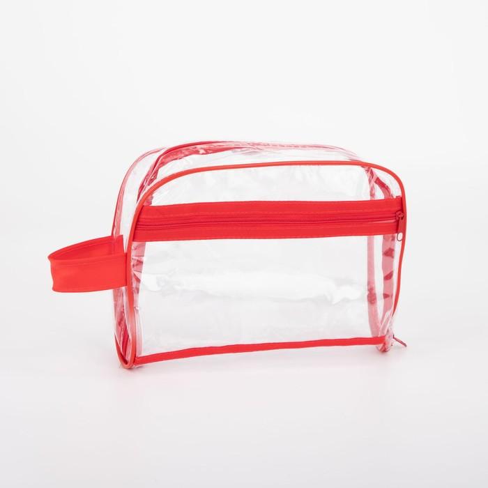 Косметичка ПВХ, отдел на молнии, наружный карман, с ручкой, цвет красный