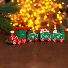 Сувенир «Новогодний поезд», 19 см, цвет зелёный в Донецке