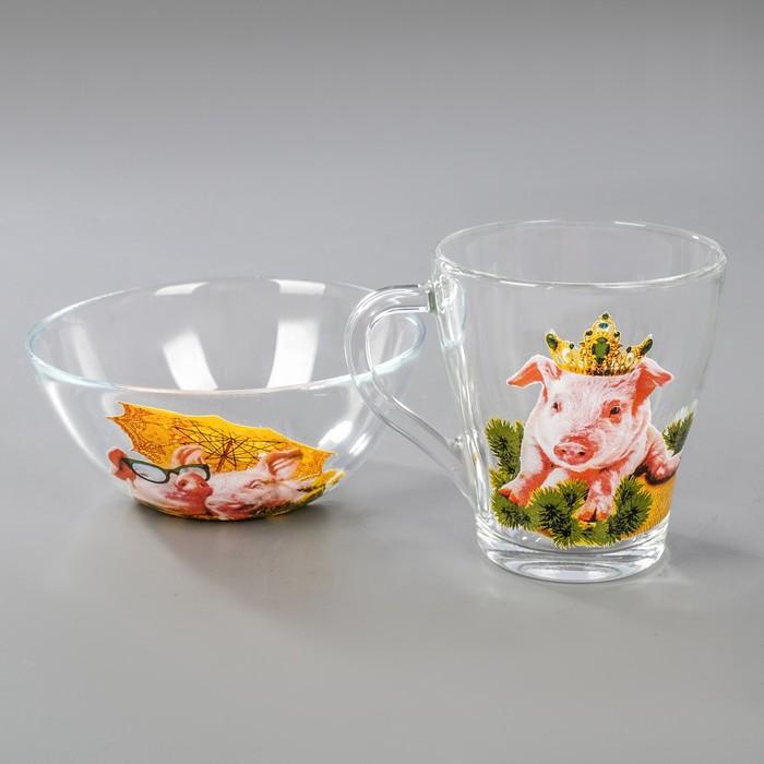 """Набор для завтрака """"Год свиньи"""", 2 предмета: салатник, кружка, рисунок МИКС"""