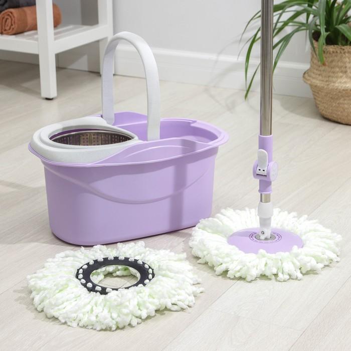 Набор для уборки: швабра, ведро с металлической центрифугой 16 л, запасная насадка из микрофибры, колёсики, цвет МИКС