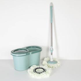 Набор для уборки: ведро на колёсиках с пластиковой центрифугой 16 л, швабра, запасная насадка из микрофибры, цвет МИКС Ош