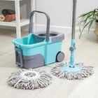 Набор для уборки: ведро на колёсиках с металлической центрифугой 14 л, швабра, запасная насадка из микрофибры, цвет МИКС - фото 4644066