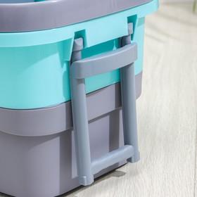 Набор для уборки: ведро на колёсиках с металлической центрифугой 14 л, швабра, запасная насадка из микрофибры, цвет МИКС - фото 4644070