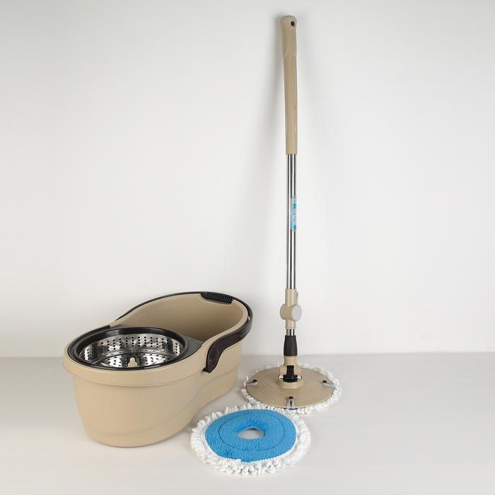 Набор для уборки: швабра, ведро с металлической центрифугой 14 л, запасная насадка из микрофибры, цвет коричневый