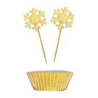 Набор для украшения кексов «Золото», набор 12 формочек, 12 шпажек - фото 105515276