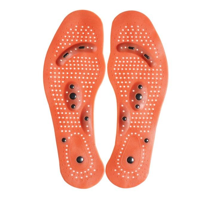 Стельки для обуви, массажные, дышащие, универсальные, 35-46 р-р, пара, цвет коричневый