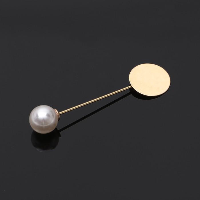 Основа для булавки с бусиной d=1 см (набор 5шт), L=5 см, площадка 1,5см, цвет золото
