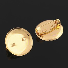 Pin brooch with round base SM-367 (set of 5pcs) 20 mm, color gold