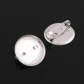 Pin brooch with round base SM-367 (set of 5pcs) 20 mm, colour silver