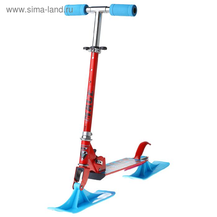 Самокат-снегокат 2 в 1 RACE, цвет красный