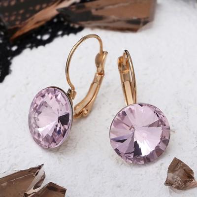"""Серьги со стразами """"Яркая классика"""", цвет розовый в золоте, d=1,4 см"""