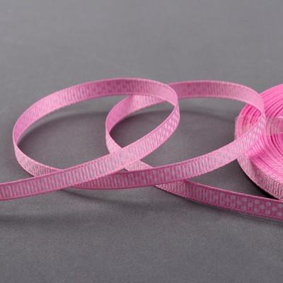 Лента репсовая «Горох», 6 мм, 22 ± 1 м, цвет розовый/белый