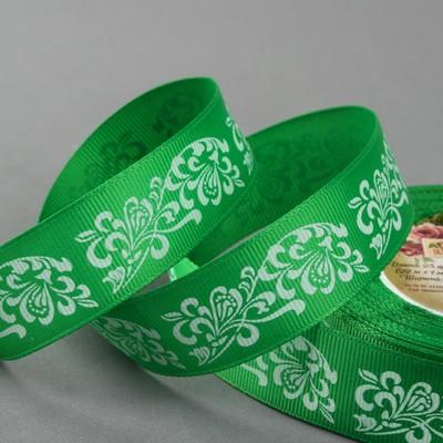 Лента репсовая «Узоры», 25 мм, 22 ± 1 м, цвет зелёный/белый