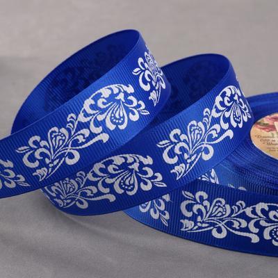 Лента репсовая «Узоры», 25 мм, 22 ± 1 м, цвет синий/белый