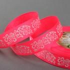 "Лента репсовая ""Узоры"", 25мм, 22±1м, цвет розовый/белый"