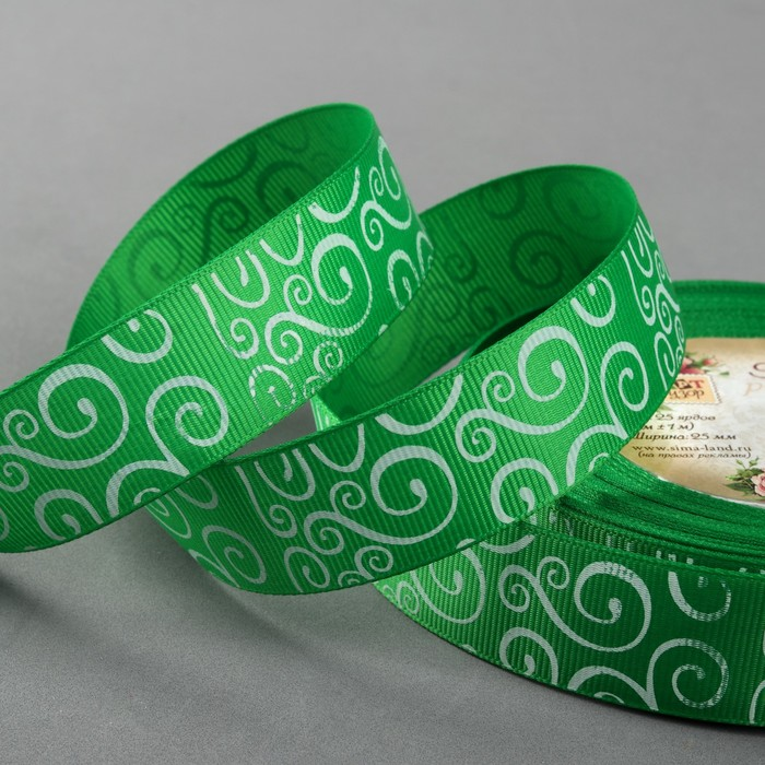 Лента репсовая «Узоры», 25 мм, 22 ± 1 м, цвет зелёный/белый №19