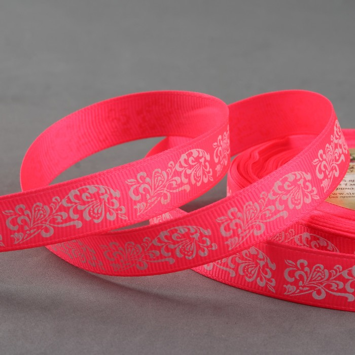 "Лента репсовая ""Узоры"", 15мм, 22±1м, цвет розовый/белый"