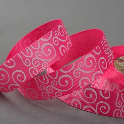 Лента репсовая «Узоры», 25 мм, 22 ± 1 м, цвет розовый/белый