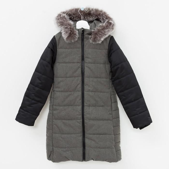 Куртка утепленная (пальто) Дара 40800-81 черный/серый меланж, рост 122 см