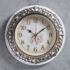 Часы настенные, серия: Интерьер, белый обод, коричневая кайма, микс, d=25 см