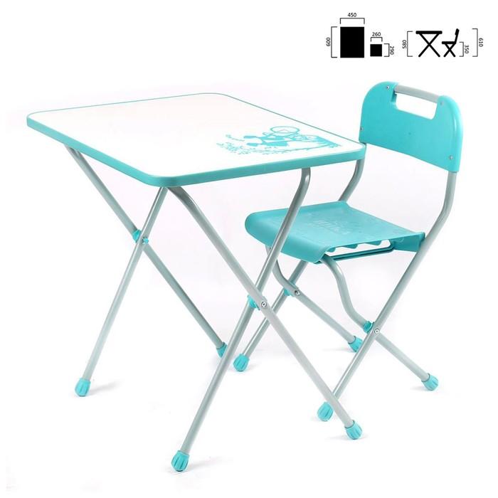 Комплект детской мебели с рисунком в стиле «Ретро», цвет бирюзовый