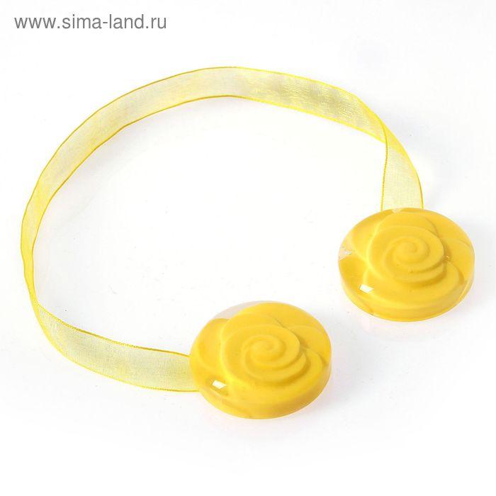 "Подхват для штор на ленте ""Роза объёмная"", цвет жёлтый"