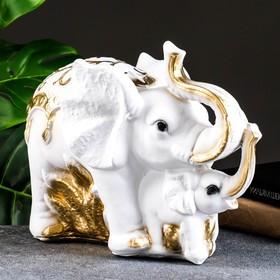 """Копилка """"Слон со слонёнком средний"""", 16х33х25см, золотой, МИКС"""