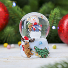 "Сувенир полистоун водяной шар ""Снеговик со скворечником"" 6,5х5х4,5 см"