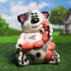 """Садовая фигура """"Кот с сосисками"""" глянец, бело серый"""