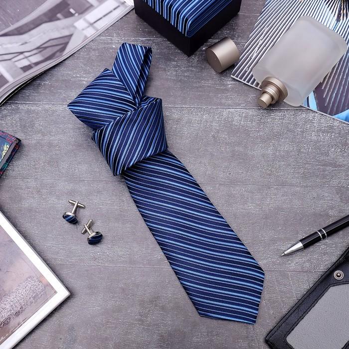 "Набор мужской ""Стиль"" галстук 145*5см самовяз, запонки, линии, цвет тёмно-синий - фото 415553197"