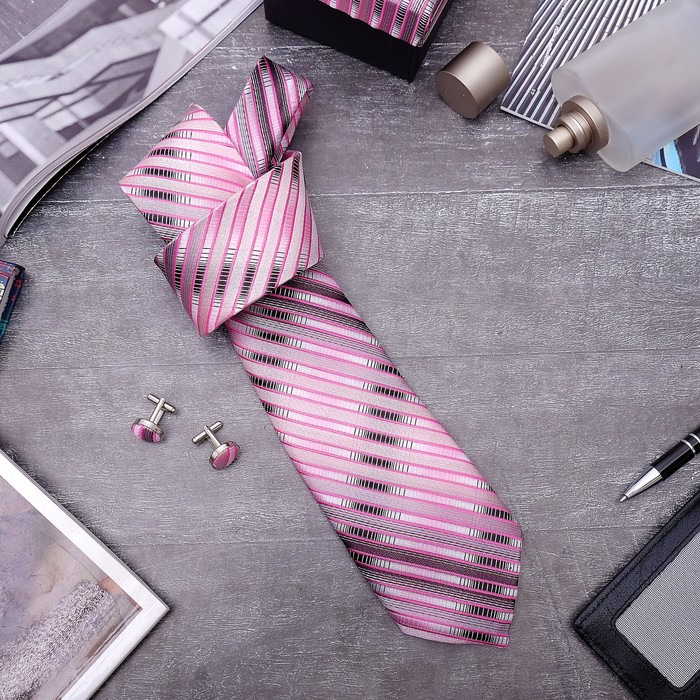 """Набор мужской """"Стиль"""" галстук 145*5см самовяз, запонки, полосы узкие, цвет розово-серый - фото 408657587"""