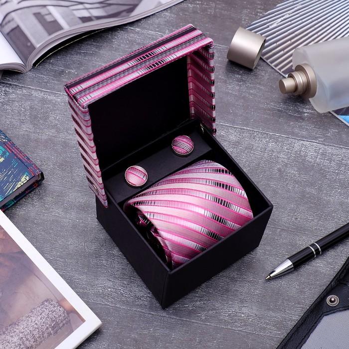 """Набор мужской """"Стиль"""" галстук 145*5см самовяз, запонки, полосы узкие, цвет розово-серый - фото 408657588"""