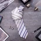 """Набор мужской """"Стиль"""" галстук 145*5см самовяз, запонки, полоски, цвет бежево-серый"""