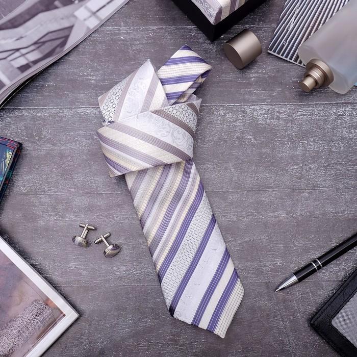 """Набор мужской """"Стиль"""" галстук 145*5см самовяз, запонки, полоски, цвет бежево-серый - фото 450068328"""