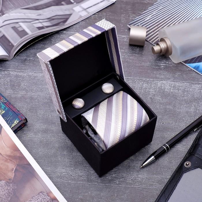"""Набор мужской """"Стиль"""" галстук 145*5см самовяз, запонки, полоски, цвет бежево-серый - фото 450068329"""