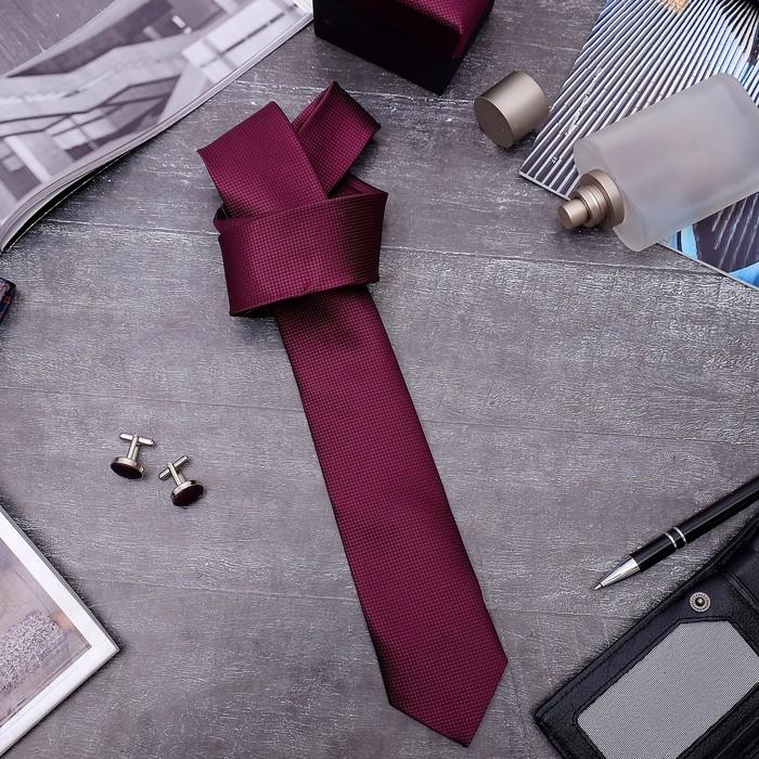 """Набор мужской """"Премьер"""" галстук 145*5см самовяз, запонки, мелкий квадрат, цвет марсала"""