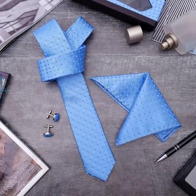 """Набор мужской """"Элит"""" галстук 145*5см самовяз, платок, запонки, кружок, цвет голубой"""