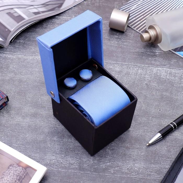 """Набор мужской """"Премьер"""" галстук 145*5см самовяз, запонки, цвет небесно-синий - фото 511098710"""