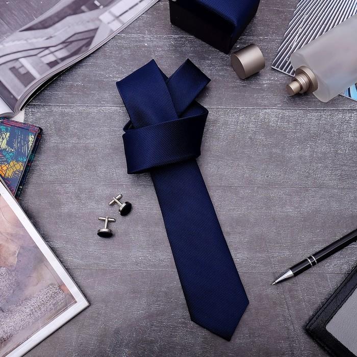 """Набор мужской """"Премьер"""" галстук 145*5см самовяз, запонки, тонкая полоска, цвет тёмно-синий"""