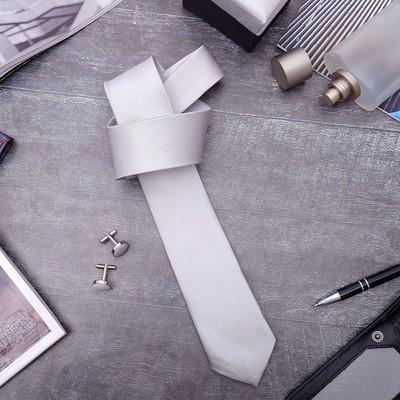 """Набор мужской """"Премьер"""" галстук 145*5см самовяз, запонки, тонкая полоска, цвет серый"""