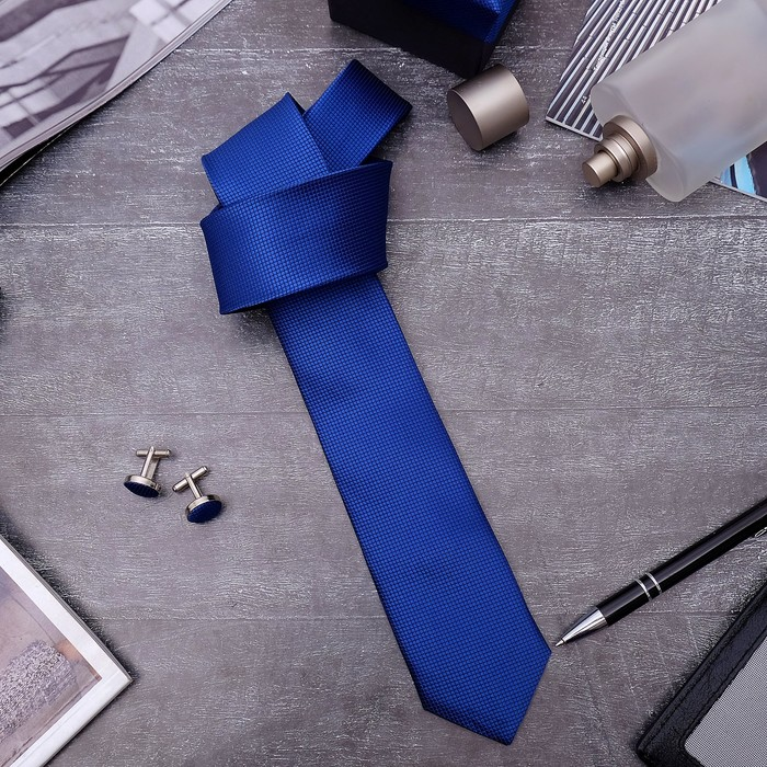"""Набор мужской """"Премьер"""" галстук 145*5см самовяз, запонки, мелкий квадрат, цвет синий"""