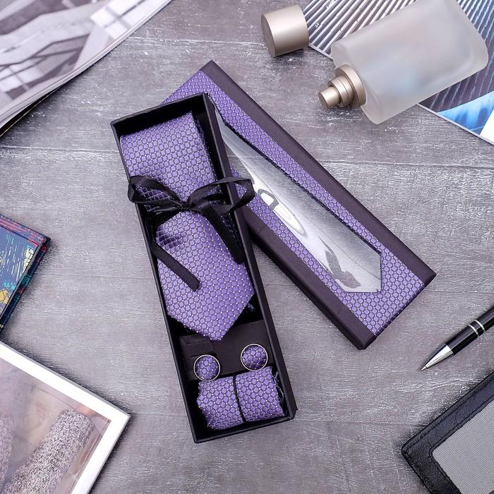 """Набор мужской """"Элит"""" галстук 145*5см самовяз, платок, запонки, клетка мелкая, цвет тёмно-сиреневый - фото 515355780"""